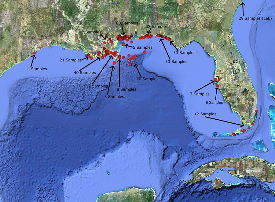 Locations and number of samples collected by Boston Chemical Data Corp. and assessed by TCAS during the Deepwater Horizon release